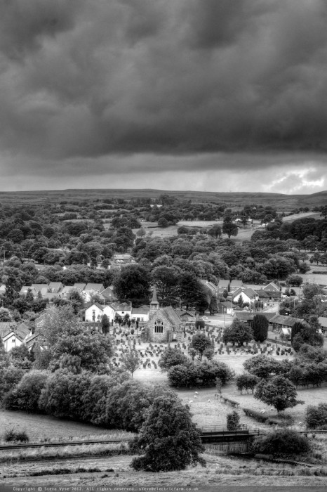 Looking down on Carno, Powys, Wales.