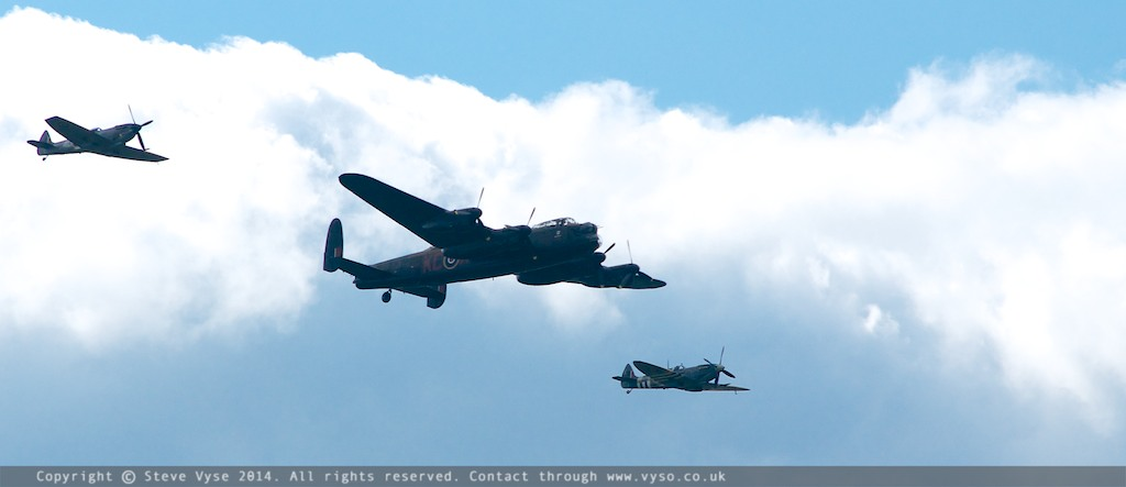 Avro Lancaster with Spitfires from Battle of Britain Memorial Flight